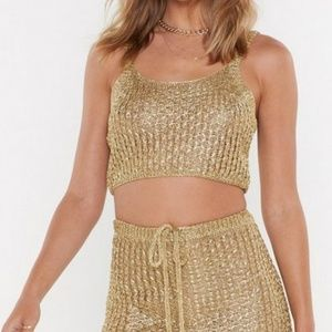 Nasty Gal Tops - Gold Metallic Knit Top